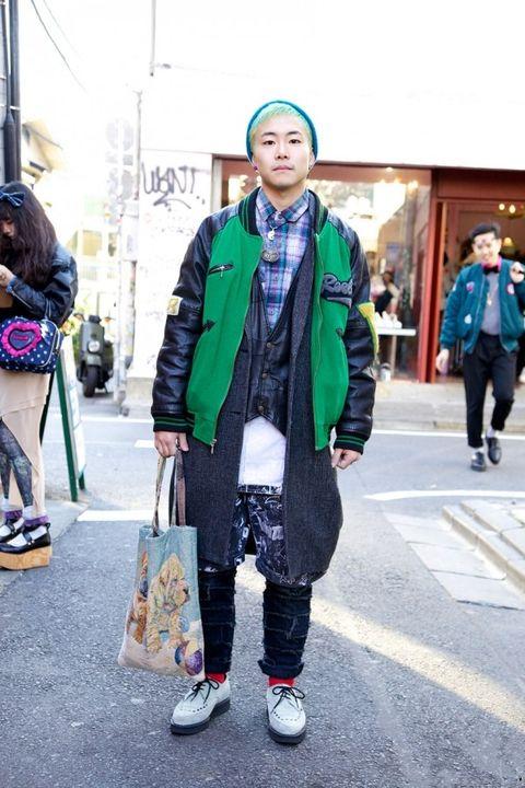 个性 街拍/#潮拍#老式的球场夹克、毛呢大衣和错落有致的裤子,老式衬衫、...