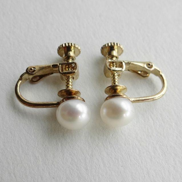 天然/E5天然淡水珍珠耳夹/不需要耳洞复古老式宫廷风 无痛螺丝夹金色