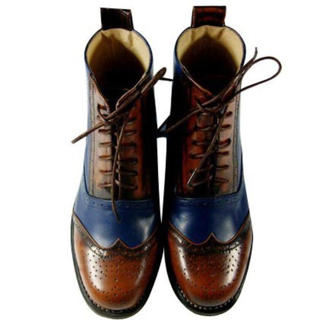 个性 街拍/■宝蓝擦色复古 真皮短靴