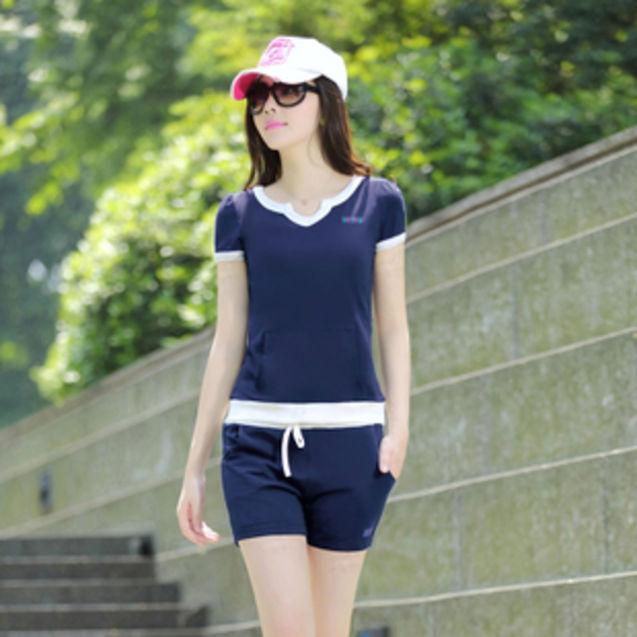 宁静/韩版女短袖运动服运动套装