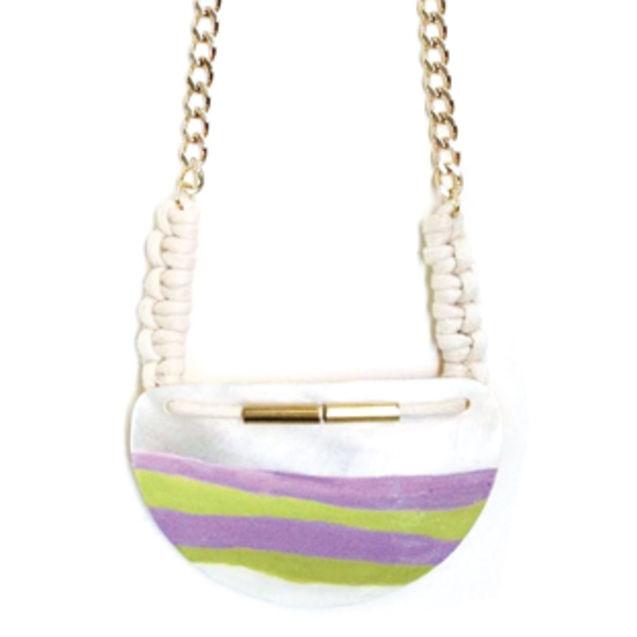 黄色 街拍/紫黄色贝壳绳结 手作项链