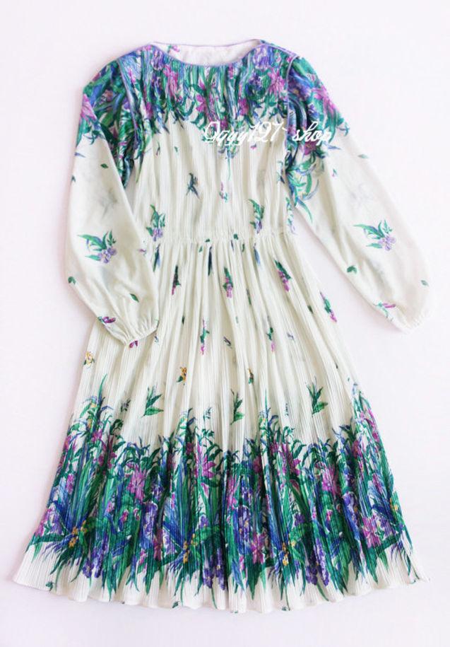 素描 连衣裙/兰花草。素描花卉古着百褶连衣裙。Vintage。sold。