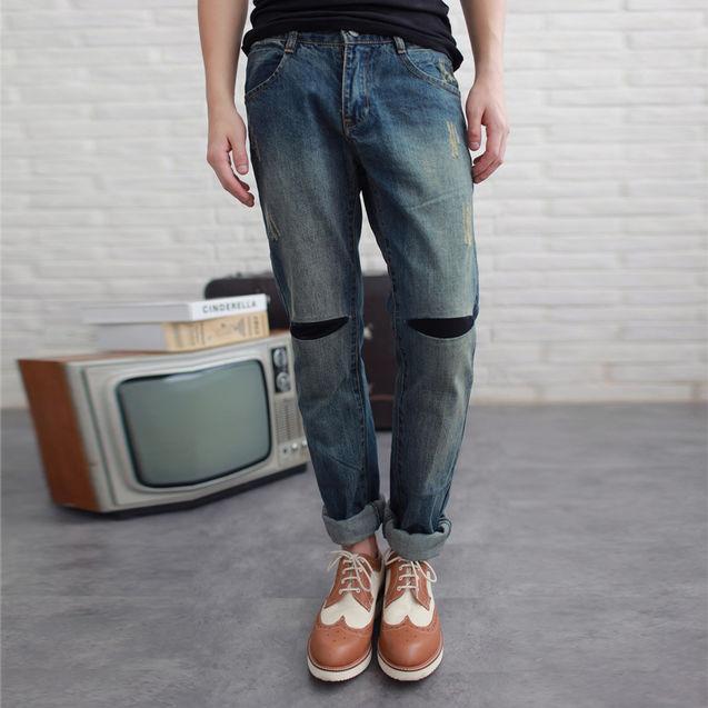 设计 潮流/【IN HERE潮流会社】热卖特价新款男士复古开口笑设计牛仔裤