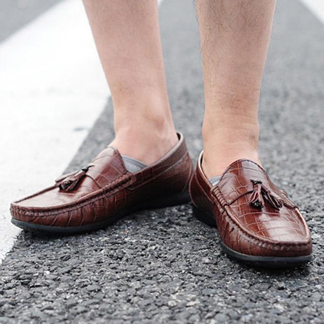 欧美 街拍/特价13新款欧美男士夏季复古风鳄鱼纹帆船鞋 复古皮鞋轻熟男