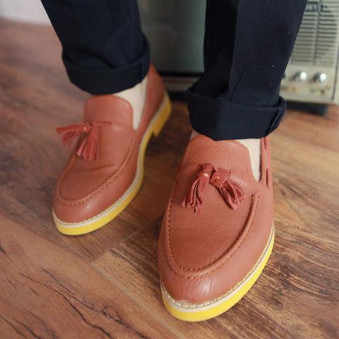 高端/【IN HERE潮流会社】荧光黄底部设计高端真皮帆船鞋