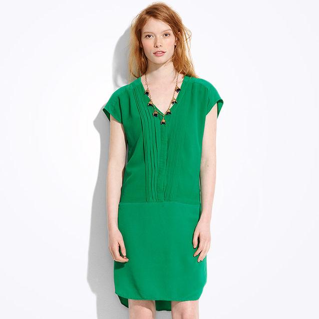 少女 太子路/宝石绿 真丝褶皱宽松衬衣衬衫裙两件套