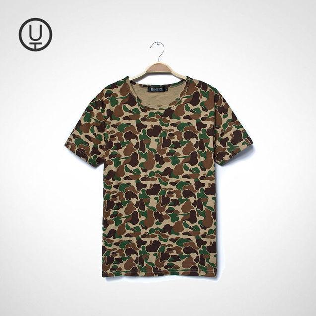 个性/[阿土伯]2013夏新款日系男士个性撞色迷彩高品质纯棉休闲短袖T恤
