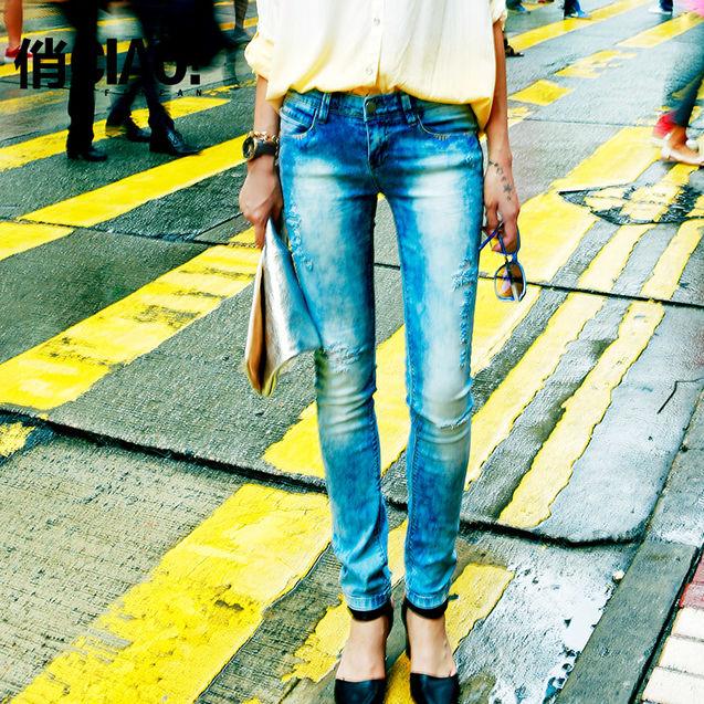 新款 牛仔裤/CIAO!俏小脚裤女2013新款修身磨白破洞牛仔裤 夏季女裤雪花裤