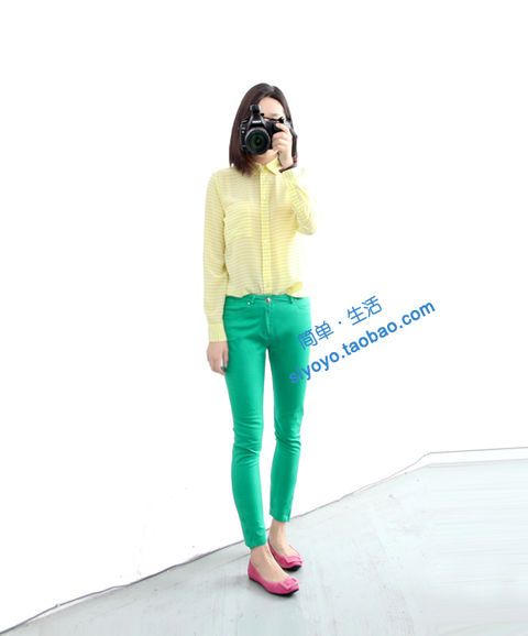 个性 街拍/鹅黄色条纹真丝衬衣#N