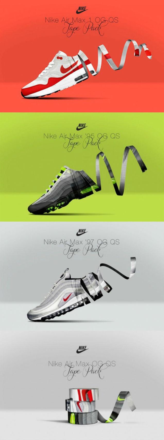 创意 max/Nike Air Max系列创意广告,胶带缠绕成了Air Max 1、Air Max 95...