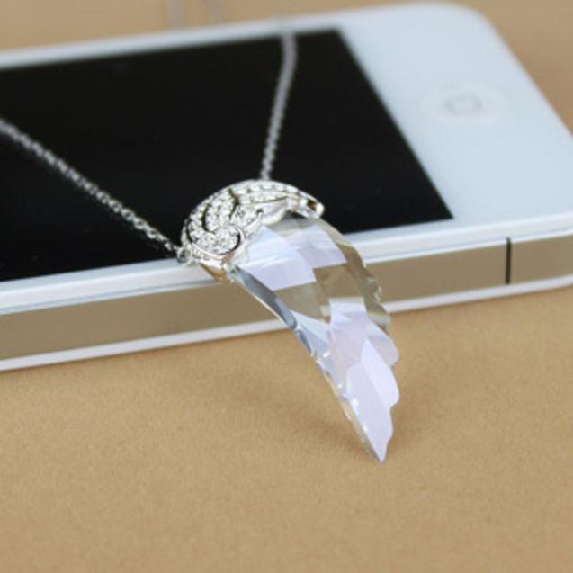爱德华 透明/透明色羽翼天使之翼水晶项链