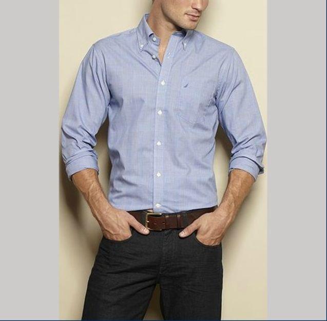 美国 个性 衬衫/Nautica/诺帝卡专柜正品男商务系列长袖衬衫/衬衣美国代购现货