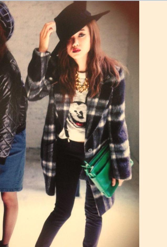 日本 英伦/夏日寒烟日本代购女装直送vivi 11月moussy英伦格纹毛呢外套大衣